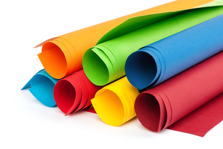 Rolls of colour paper